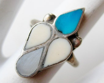 Vintage Ring Old Native American Navajo Indian Sterling Silver Turquoise Ring size 6 1/2