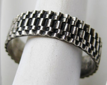 Vintage 50s Mid Century Modernist Sterling Silver Band Ring size 8 1/2