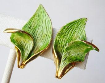 Vintage 50s Hattie Carnegie Green Enamel Leaves Gold Clip Earrings