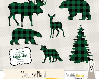 Buffalo Plaid Clipart, Green & Black Plaid Animal Silhouette Clipart, Instant Download, Commercial Use