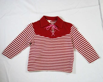 Size 10 Child's Hippie Shirt - Girls or Boys 1970s Top - Long Sleeved - Lace-Up Neckline - Laced - 70s Boho Style - Maroon Striped - 45224