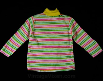 Size 10 Girl's Turtleneck Shirt - Girls 1960s Mod Top - Long Sleeved - Fluorescent Pink - Yellow - Lime Green Striped - Chest 29 -45222