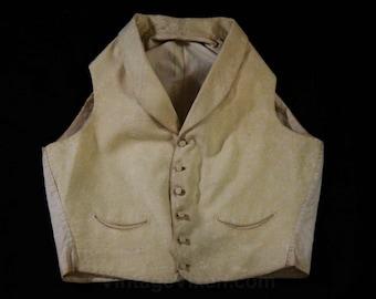 Teen Size Boy's Regency Period Vest - Teenager's Antique Waistcoat - 1800s Beau Brummel Style - Cream Silk Brocade - Chest 33 - 45183