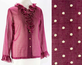 Size 16 Sheer Shirt - Polka Dot 1960s Wine Burgundy Cotton Organdy - See Through 60s Top - Long Sleeved - Ruffled V Neck - Bust 45 - 45852