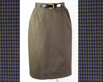 Size 6 1950s Skirt - Tailored Dark Blue & Brown Checked Cotton 50s Pencil Skirt - Original Belt - Fitted - Deadstock - Waist 25.5 - 45868
