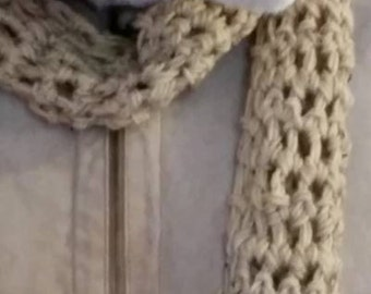 Scarf - Light Brown - Double Crocheted