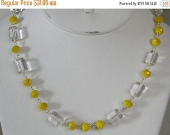 On Sale Lemon Yellow Crystals & Quartz Necklace