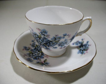 Vintage Royal Vale Cup and Saucer with Forget-Me-Not Floral Pattern