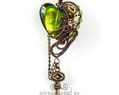 OOAK Green steampunk heart with key
