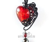 OOAK Red goth wire wrapped heart pendant