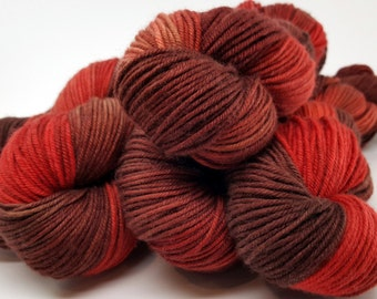 Red Orange Brown, ColorPurl Ritzy DK, Hand Dyed Yarn, Merino Cashmere Nylon, MCN, DK Weight, named Roasted Rhubarb