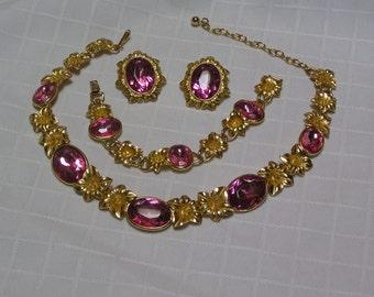 Trifari Kunio Matsamuto pink rhinestone gold flowers necklace bracelet earrings parure