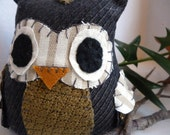 Ralph the Owl - 5 Inch Plush Owl Made From Repurposed Fabric