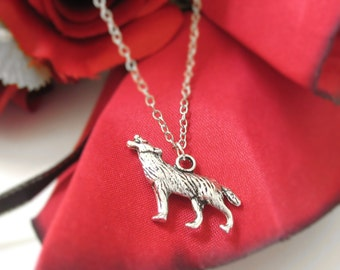 Silver Wolf Necklace For Men or Women - Sterling Silver Wolf Jewelry - Howling Wolf Charm Necklace - Wolf Pendant - Wolf Totem Necklace 185