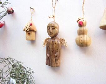 Christmas angel, wood ornament, Christmas tree ornament, wooden angel ornament, miniature wood carving, holiday decoration