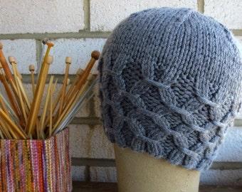 Steel Grey Lattice  Hat Knitted Hat Gift under 25 dollars