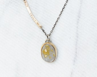 Yellow Druzy Necklace - Druzy 14k Gold and Sterling Pendant - OOAK
