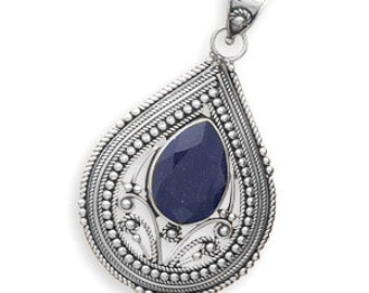 Faceted  Sapphire  Pendant in 925 Sterling Silver