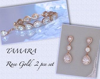 Rose Gold Jewelry Set, Rose Gold Bridal Set, Crystal Bridal Jewelry Set, Crystal Earrings & Bracelet Set, TAMARA RG