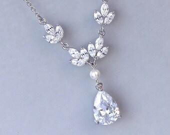 Crystal Y Necklace, Crystal Bridal Necklace, Teardrop Crystal & Pearl Necklace, Bridal Jewelry, HAYLEY Y