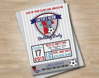 Boys Soccer/Football Birthday Invitation, Teen Boy Sports Birthday Invitation, Soccer Ball, Cleats, Soccer Jersey, Vintage Retro Style