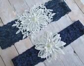 Navy blue garter,  pearl beaded lace  flowers, wedding garter set, navy blue garter set, blue bridal garter, something blue garter