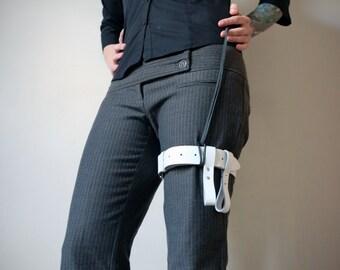 Leather Garter Belt - white - steampunk - burning man - festivals - apocalypse, Please read Description for size