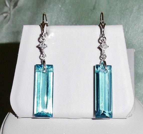 31 cts Long Octagon London Blue Topaz stones, Sterling Silver leverback Pierced Earrings