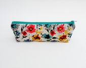 Floral Watercolor Pencil Case - Zipper Pouch - Makeup Accessory Bag - Colorful Back to School Supply