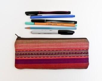 Guatemalan Bag - Pencil Case - Woven Fabric - Ikat - Zipper Pouch - Southwestern Makeup Bag - Desert Sunset