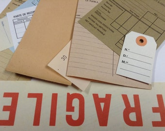 Ephemera paper pack - Vintage antique papers for you craft projects - Supplies for collage and scrapbooking