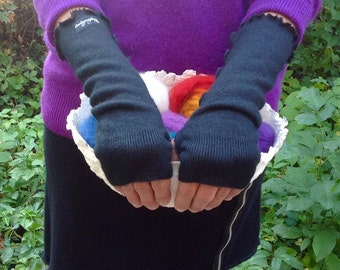 Upcycled Black Cashmere Fingerless Arm Warmers