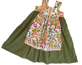 Girls Apron Knot Dress Olive Golden Orange Pale Blue Cluny Lace