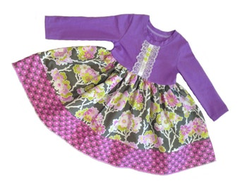 Girls Knit Top Dress Lavender Fields Collection Toddler Infant Girls