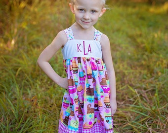 Girls Monogrammed Knot Dress Cupcake Delights Collection