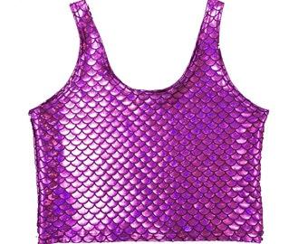 Purple Mermaid Tank Crop Top