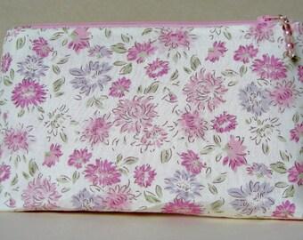 Pink cotton zip top pouch, storage pouch, jewelry storage