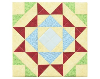 Quadrille No 10 Yellow Blue Red Blue Green Aqua Modern quilt block Decorative patchwork wall hanging artwork