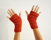 Winter gloves red knit fingerless mittens in wool for women