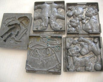 Lot of Five Metal Toymax Molds: 1995, 1996, Disney Dalmations, Doll, Horse, Doll Clothes