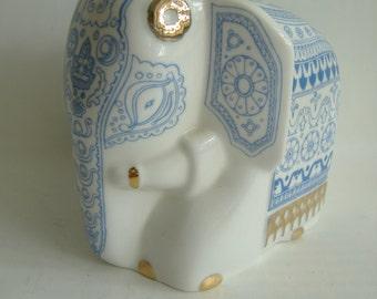 Porcelain White, Blue, Gold Elephant Tea Caddy