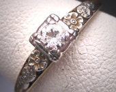 Antique Palladium Diamond Wedding Ring Art Deco Floral Vintage 1930