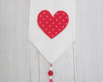 Felt banner , felt flag , love , valentines gift , wedding decor , wall hanging , heart banner