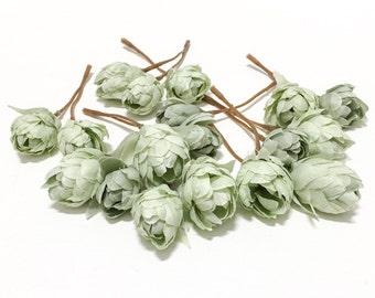 Artificial Light SAGE GREEN Hops Blossoms - Artifial Flowers, Silk Flowers, Flower Crown