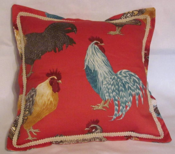 Cushioned French Country Rooster Rug: French Country Cottage Red Rooster Pillow Provence Cushion Le