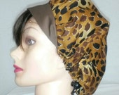 Ladies Nurses Surgical Scrub Cap Soap Making Hat Washable Cotton Fabric Ready-Made Brown Leopard