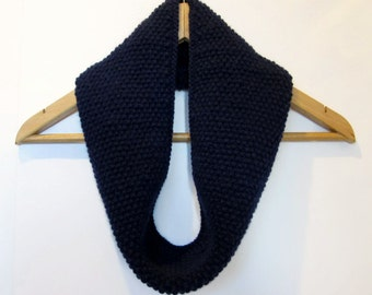 Cowl Infinity Scarf in Navy Blue Alpaca Wool
