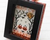Bag of Treats Halloween Framed Picture, Ghost & Pumpkin Cross Stitch