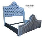 Tufted French Bed Silver King Wingback Nailhead Trim Fully Upholstered Bed By Custom Order