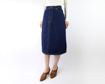 VINTAGE Lee Jean Skirt 1980s Dark Blue Denim